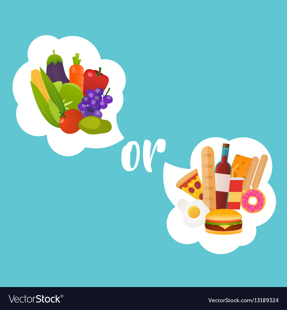 Healthy or fast food Diet nutrition fitness and vector image