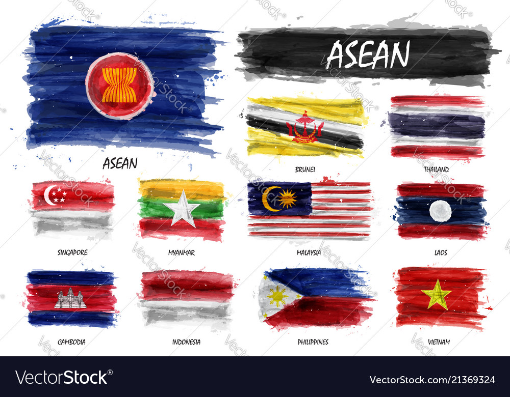 Realistic watercolor painting flag of asean