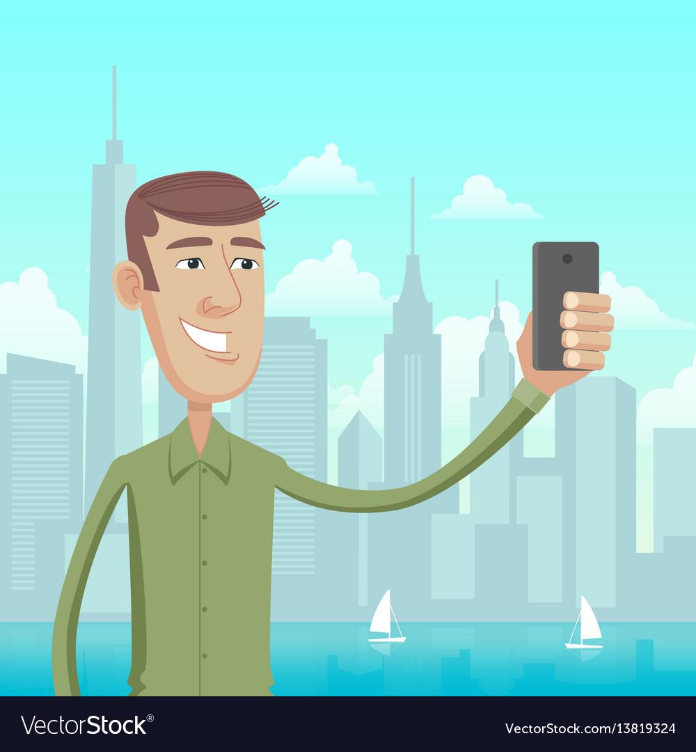 Selfie in big city vector image