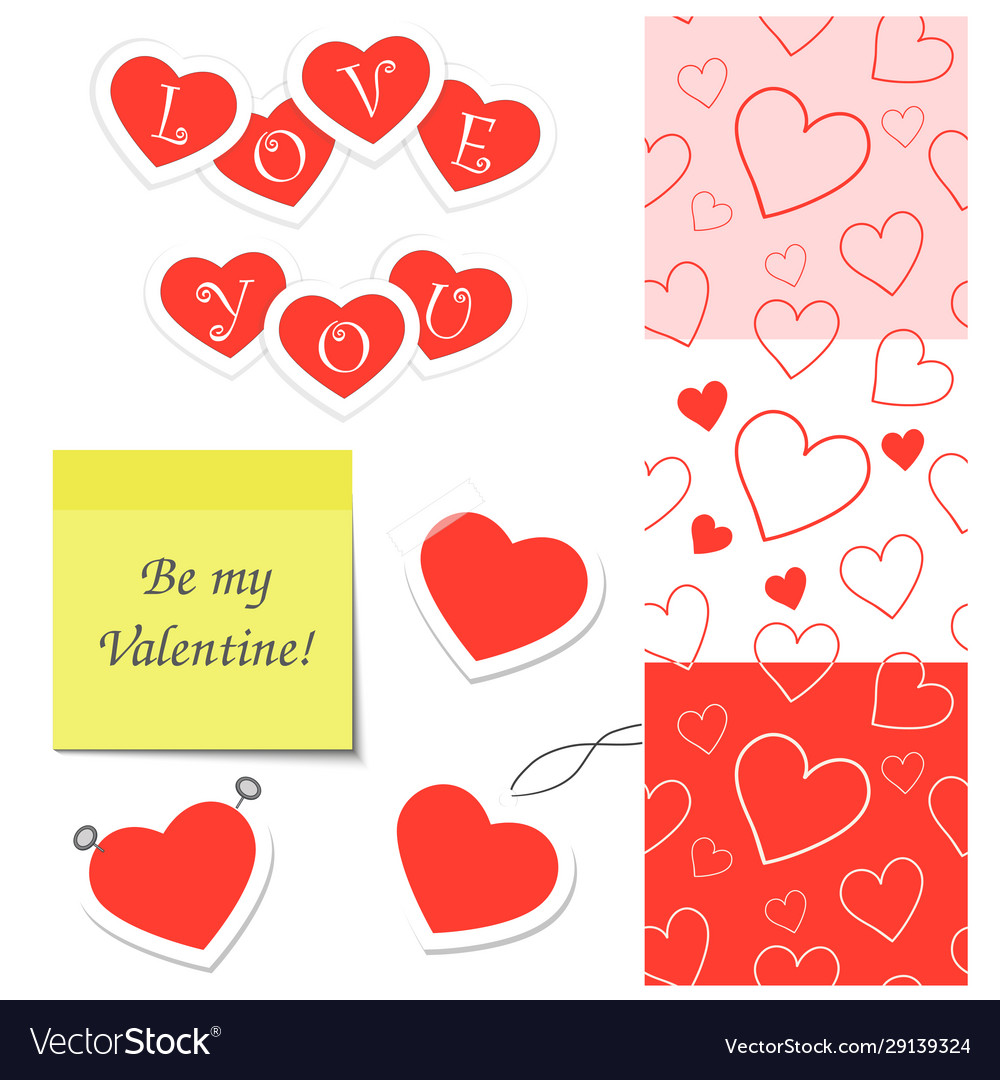 Set elements for valentines day
