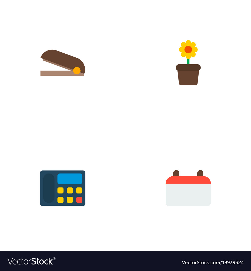 Set of workspace icons flat style symbols with