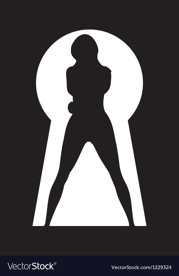 Silhouette of a woman figure seen in a key hole