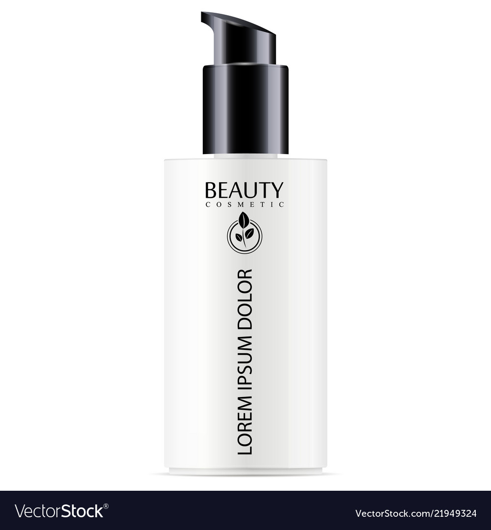 White cosmetic bottle with black pump dispenser