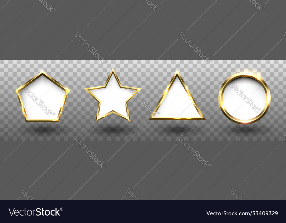 Abstract shiny golden geometric shapes frames set