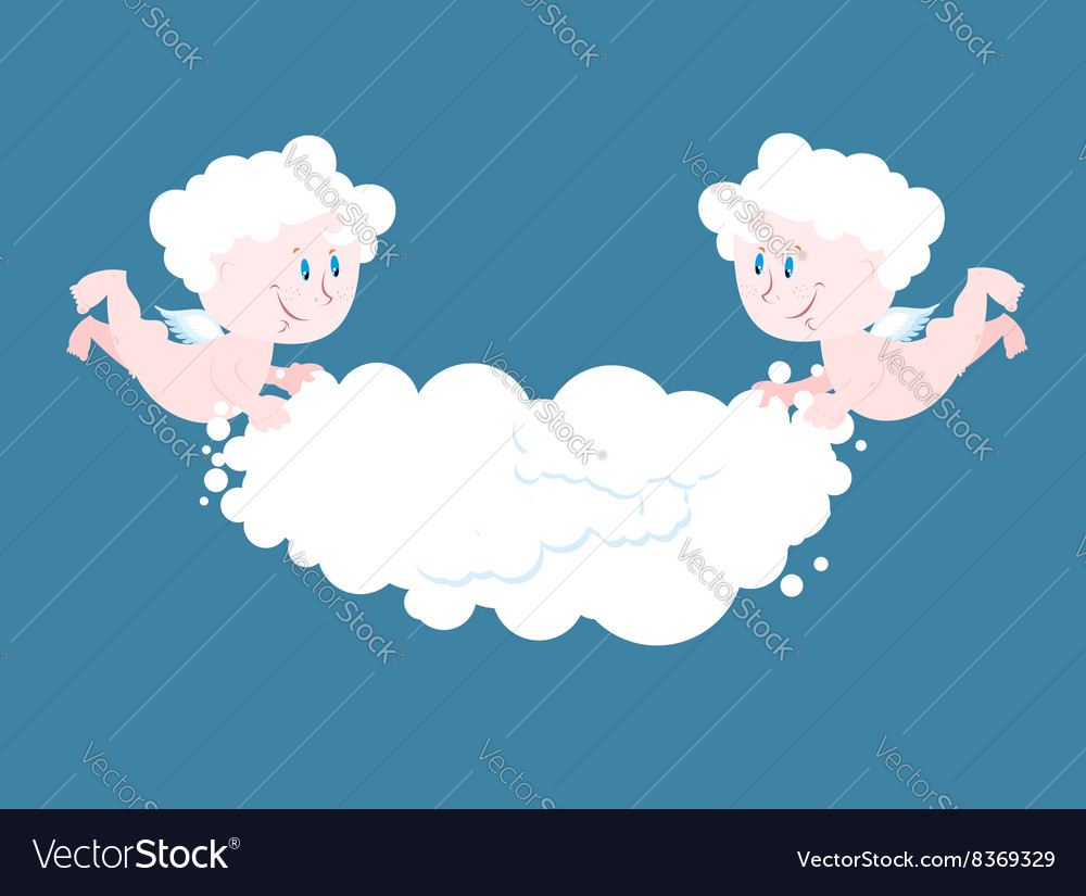 Angel and cloud Two little Angels keep cloud Place