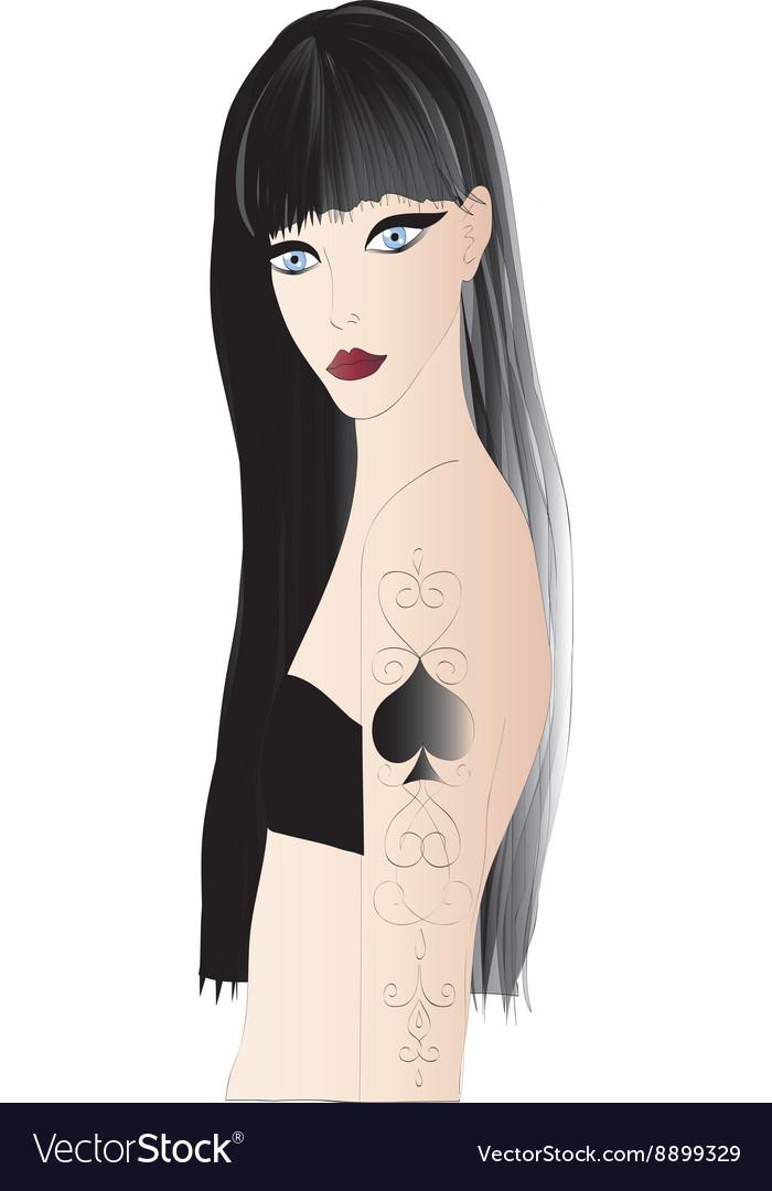 Beautiful goth girl vector image