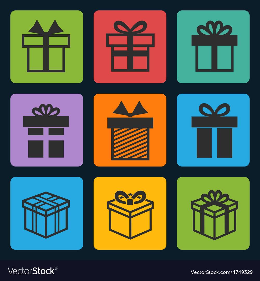 Black gift box icons set