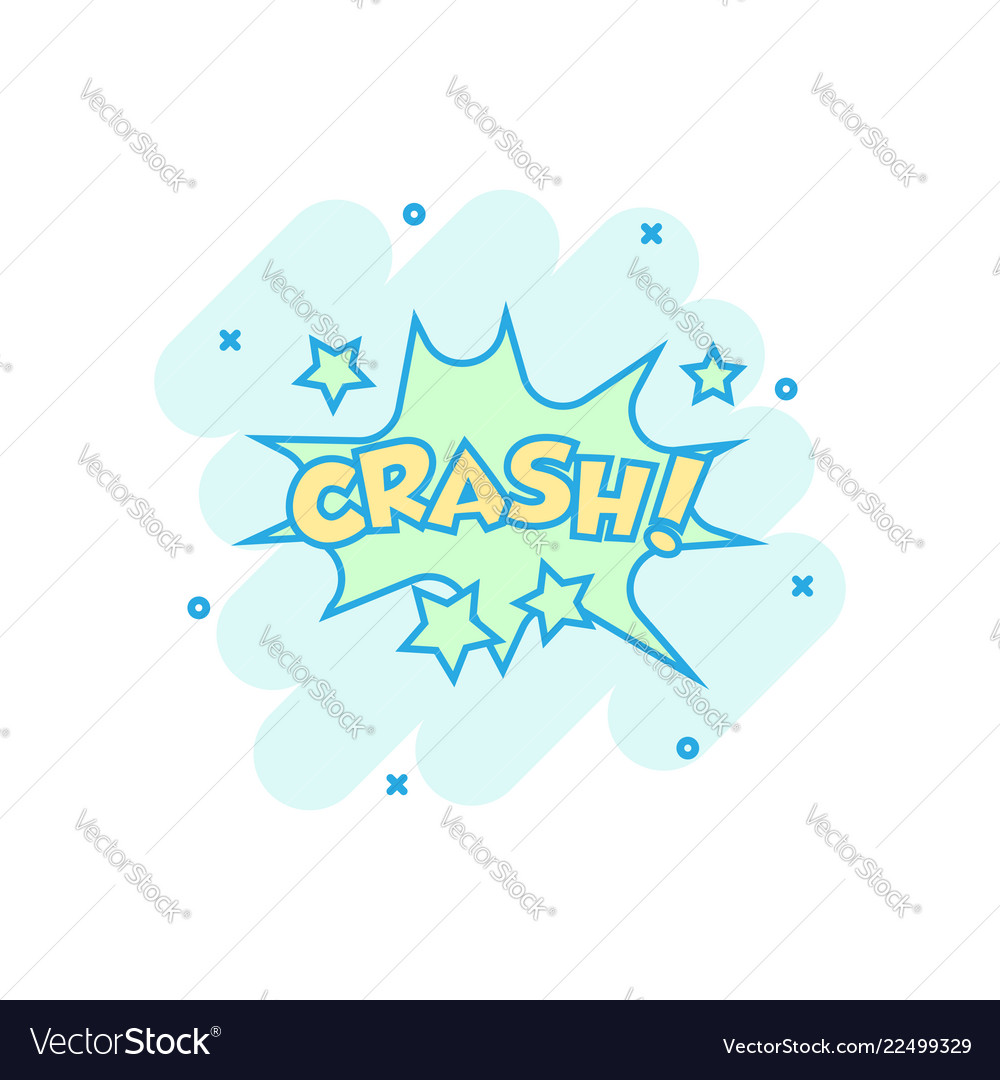 Cartoon crash comic sound effects icon in comic