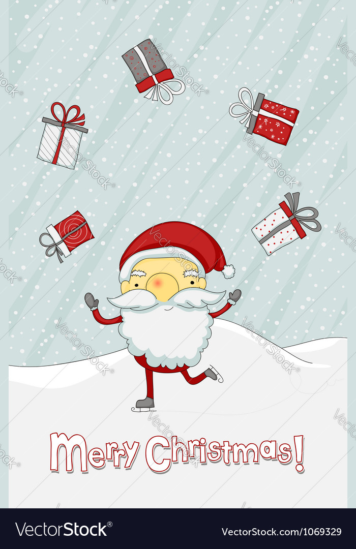 Christmas card with Santa Claus vector image