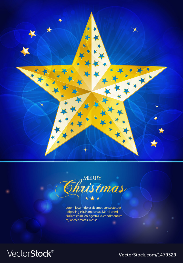 Christmas Gold Star Template With Sample Text Vector Image