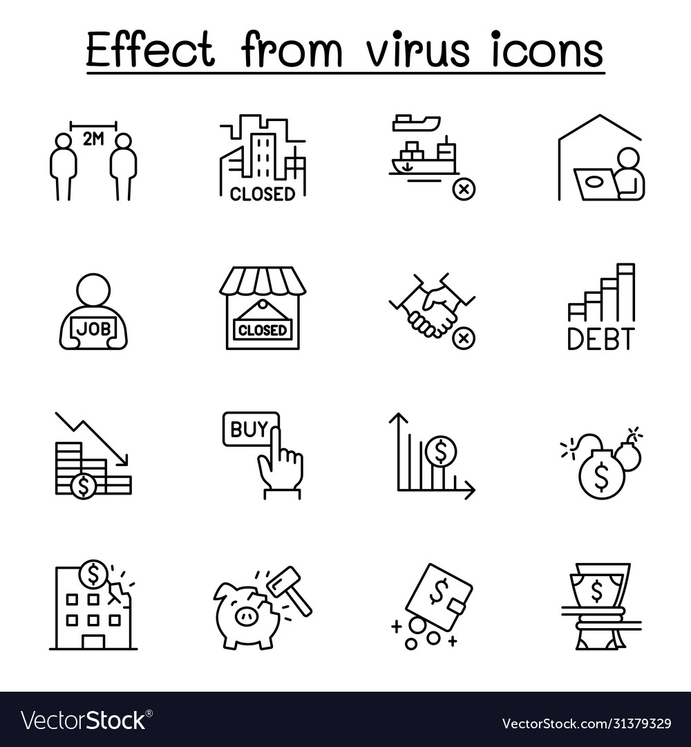 Effect from virus icon set in thin line style