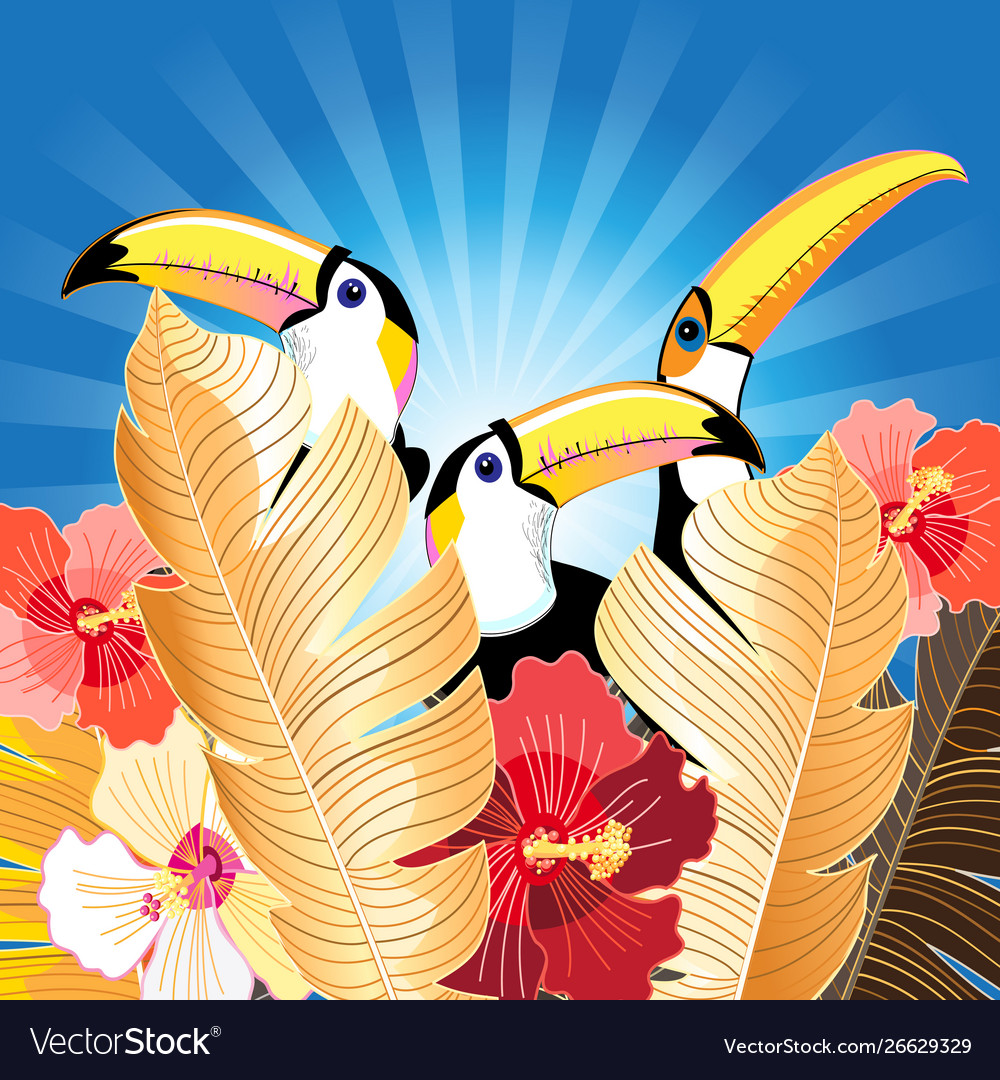 Tropical with palm leaves and toucans