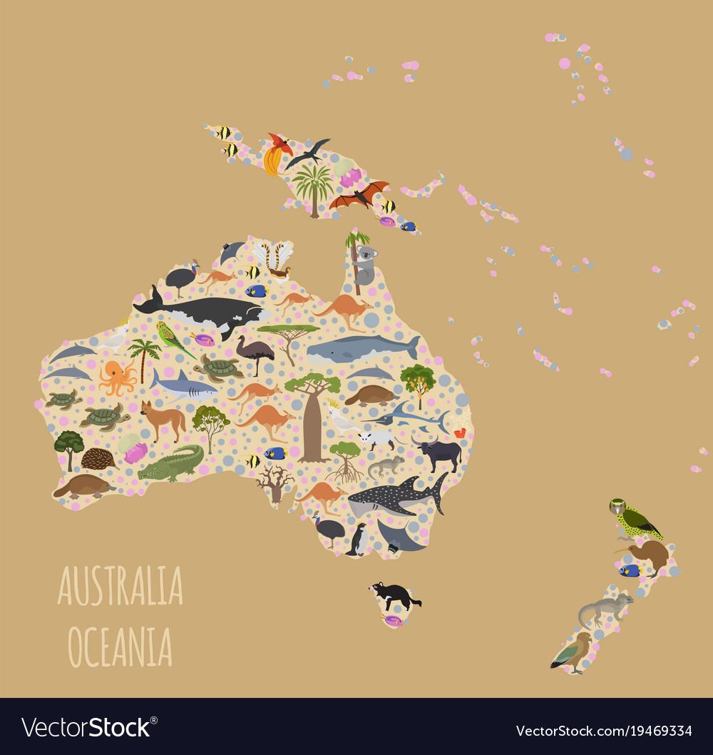 Australia and oceania flora and fauna map flat