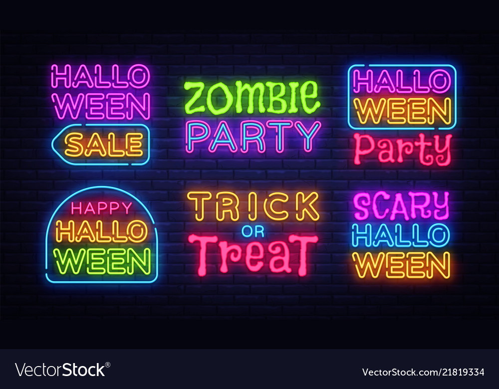 Big collection neon signs for halloween halloween