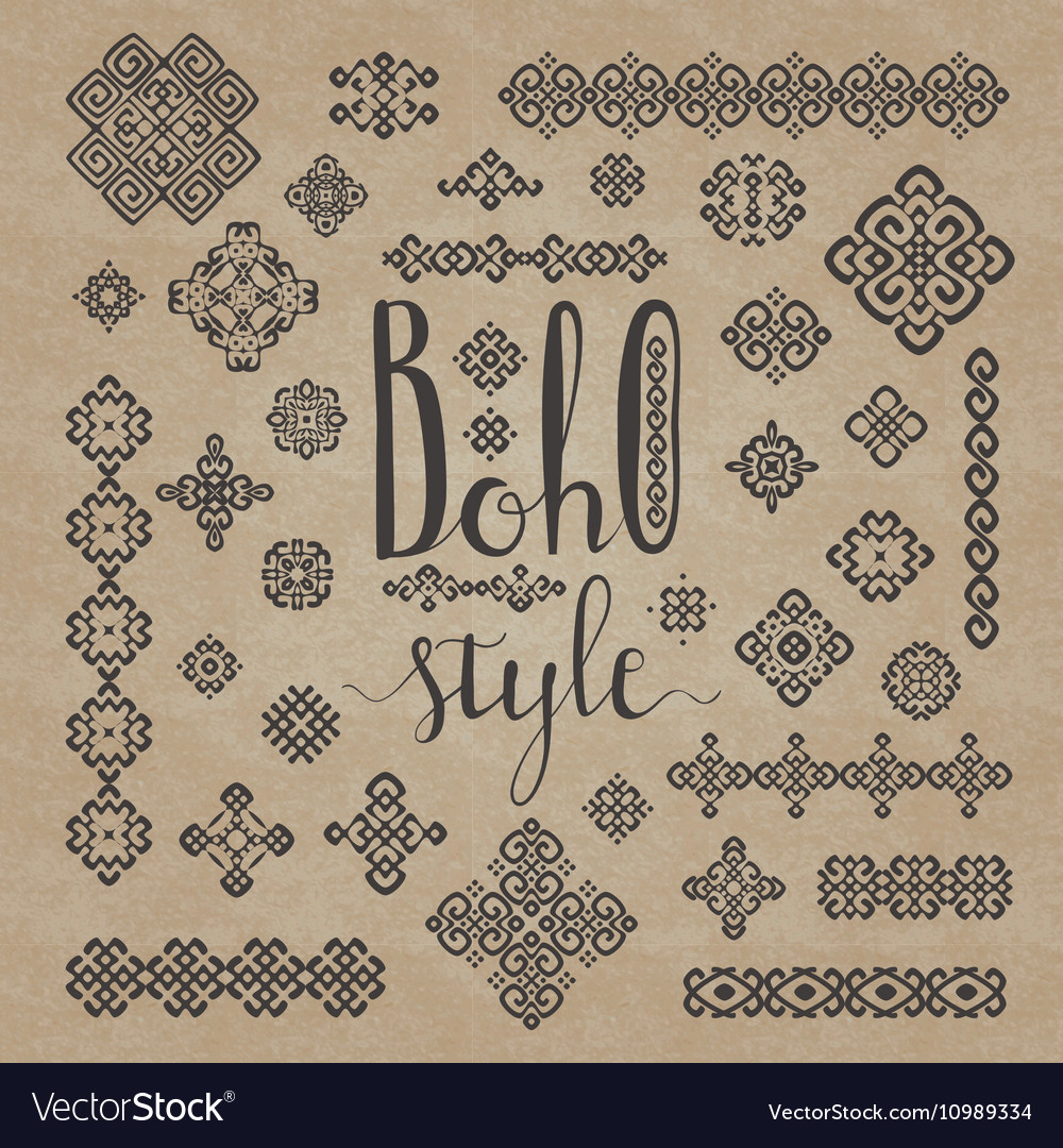 Borders and decoration ethnic signs with Boho