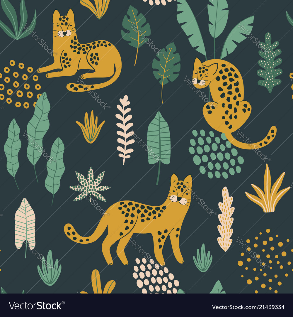 Cute seamless pattern with leopards exotic leaves