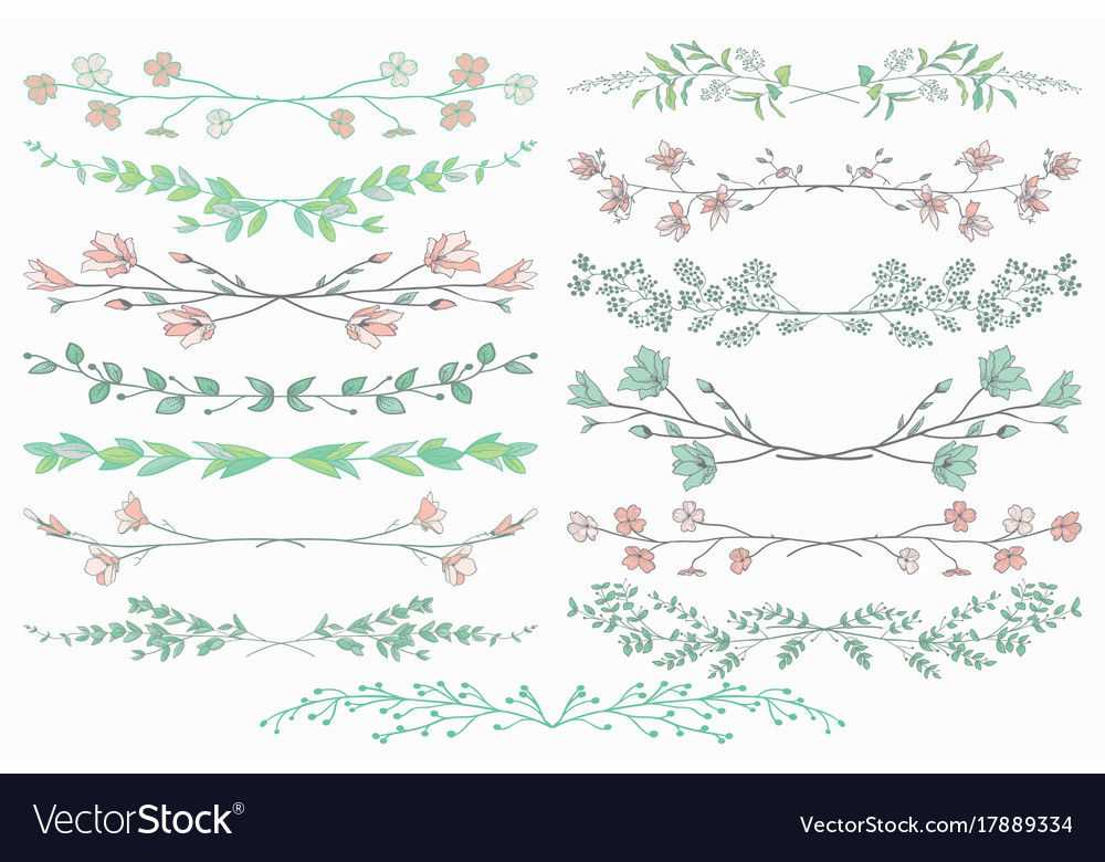 Dividers with branches plants and flowers