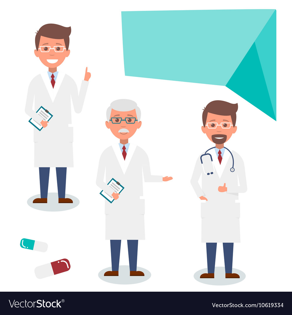 Doctor character man set with test results and vector image