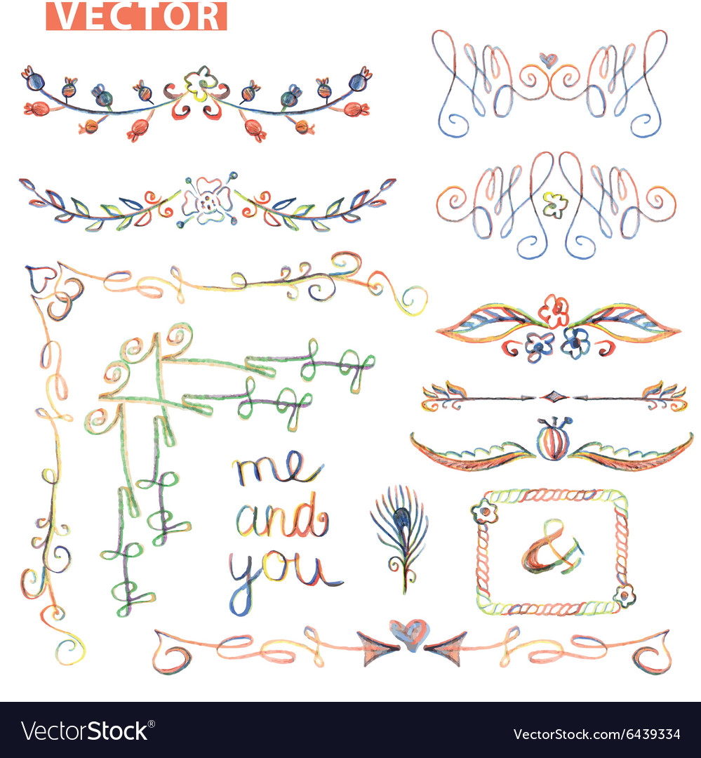 Doodle bordercornerdecor setColored watercolor vector image