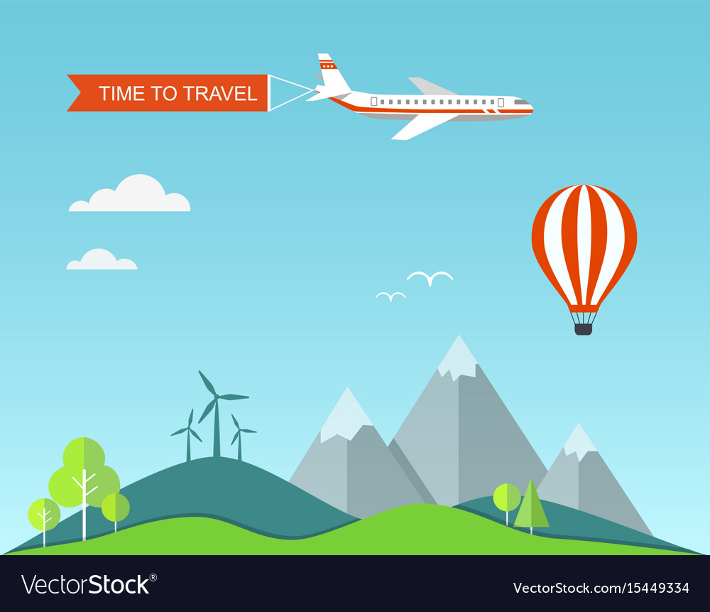 Flat banner travel with landscape