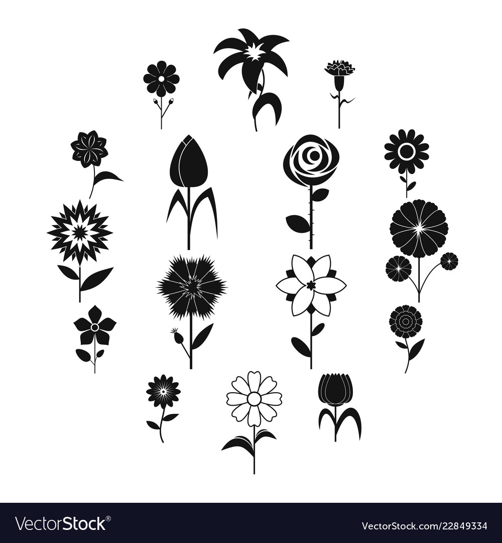 Flower icons set black simple style
