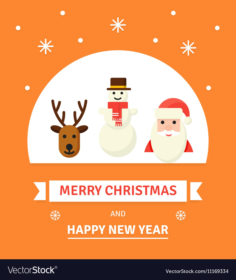 Greeting Christmas Card New Year characters