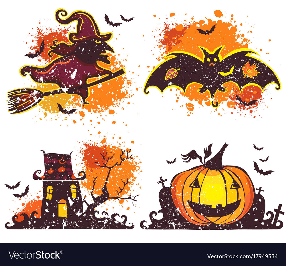Halloween icons set design elements for a