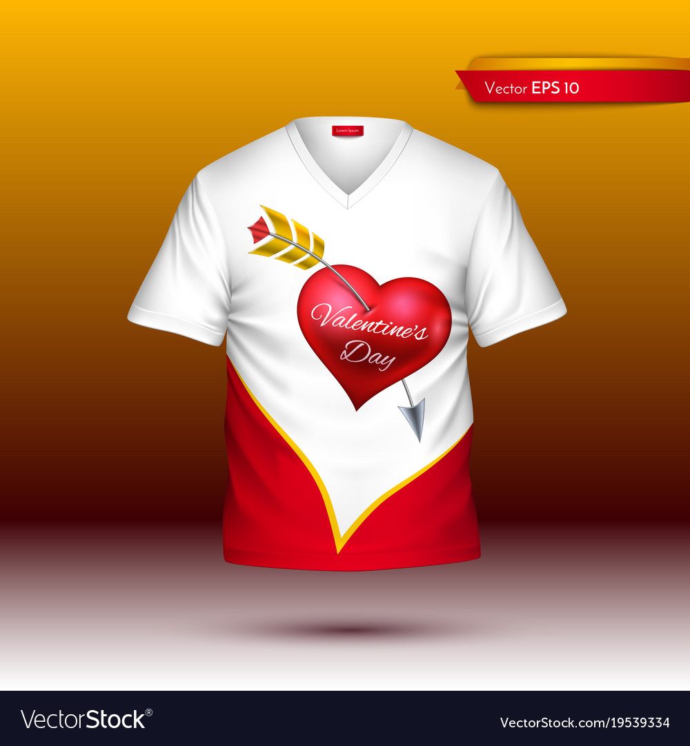 2a00d796c Happy valentine day t shirt realistic Royalty Free Vector