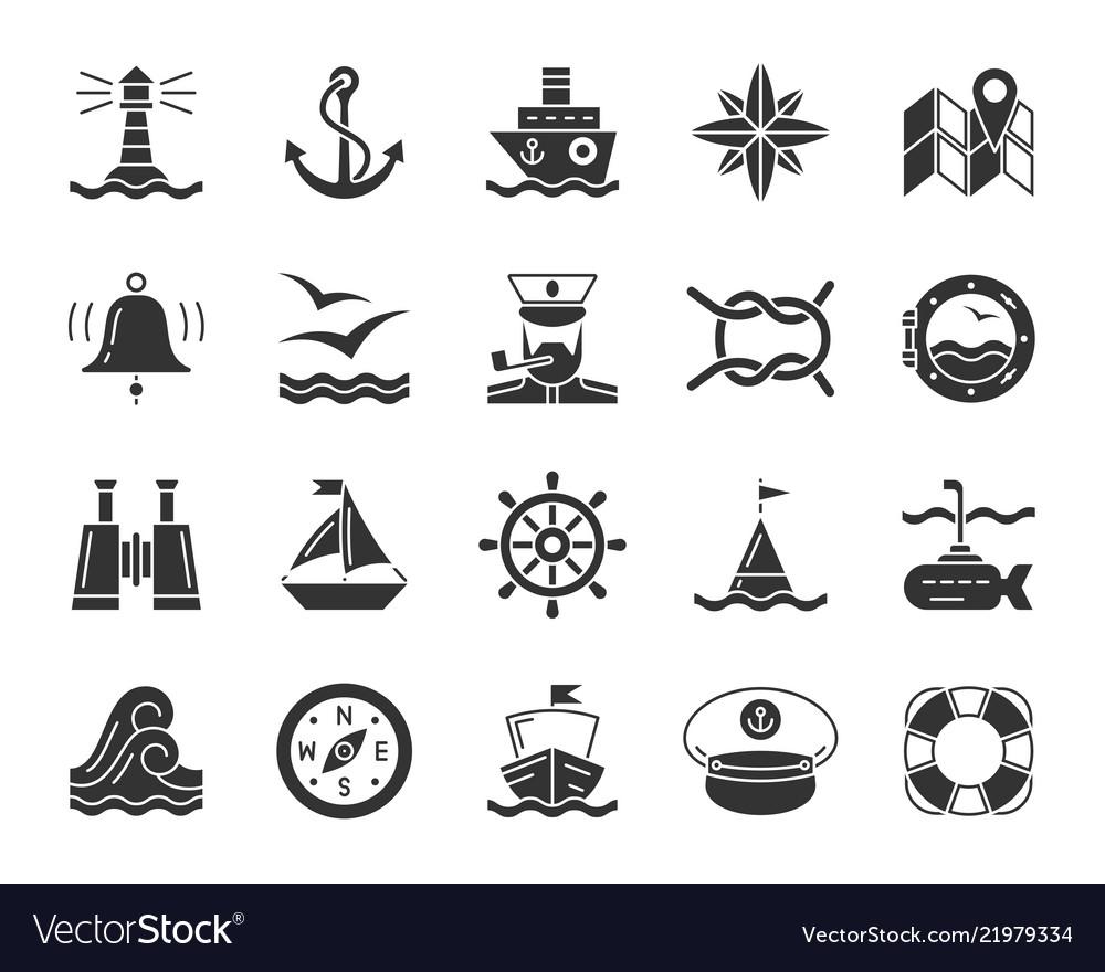 Marine black glyph icons nautical set