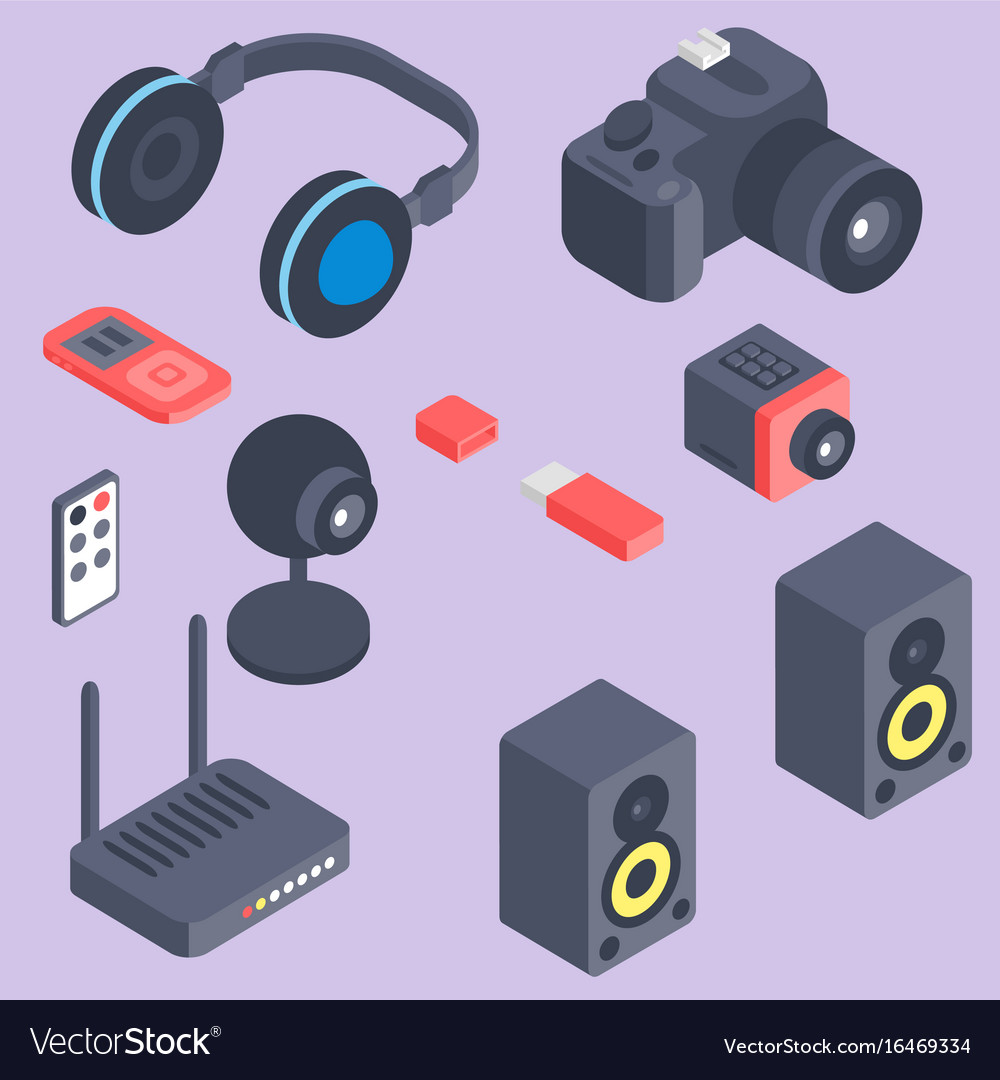 Set isometric computer devices icons vector