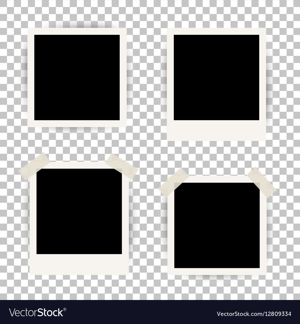 Set of 4 photo frames for album with duct tape vector image