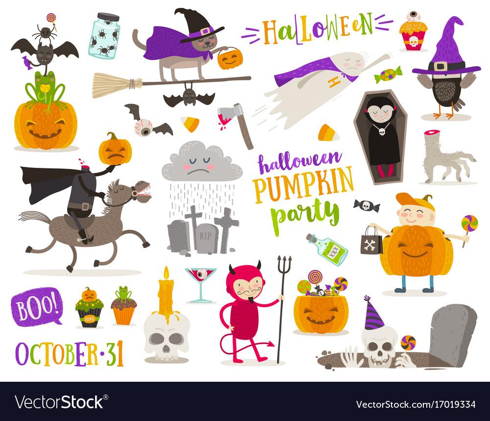 Set of halloween cartoon characters sign symbol
