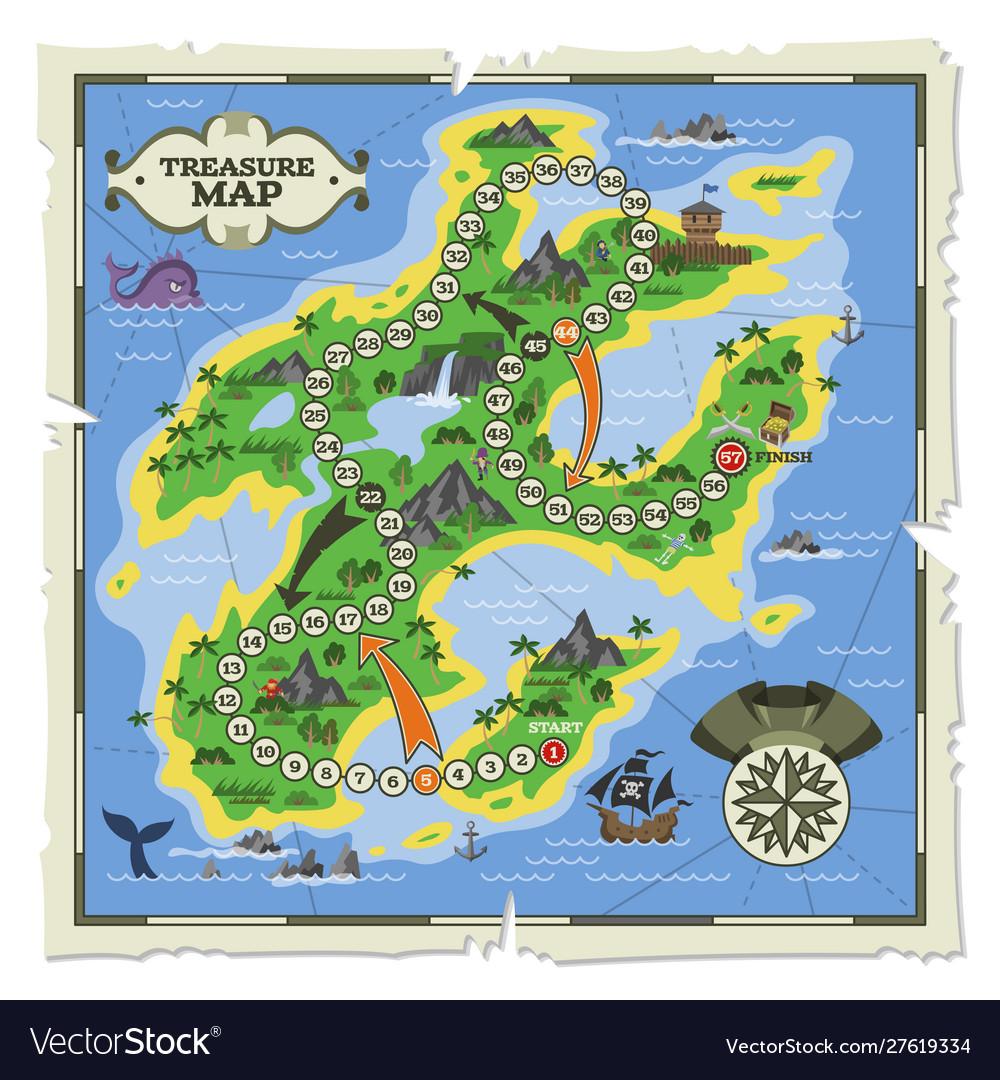 Treasure map pirate adventure on island