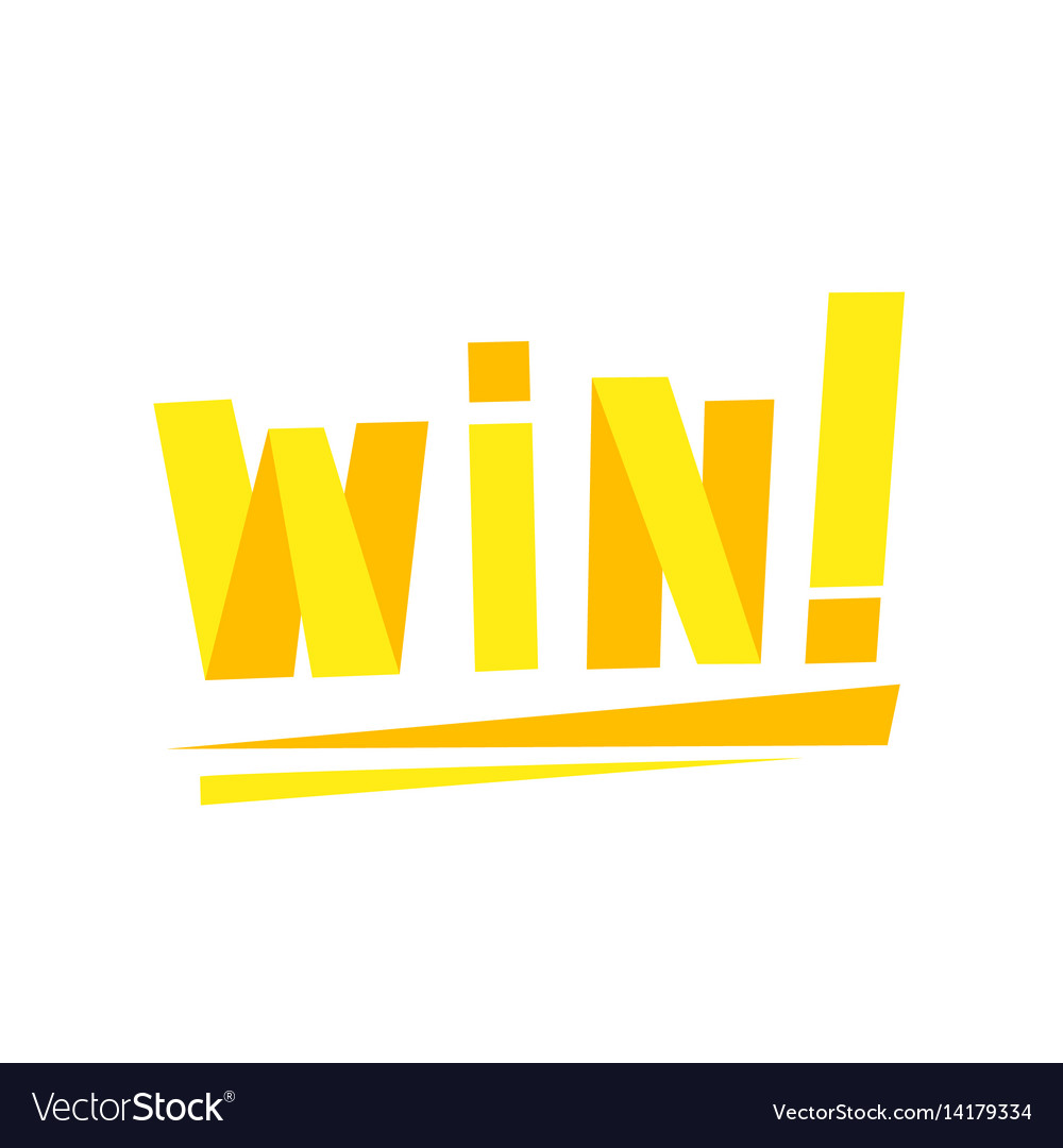 Win congratulations sticker with yellow letters vector image