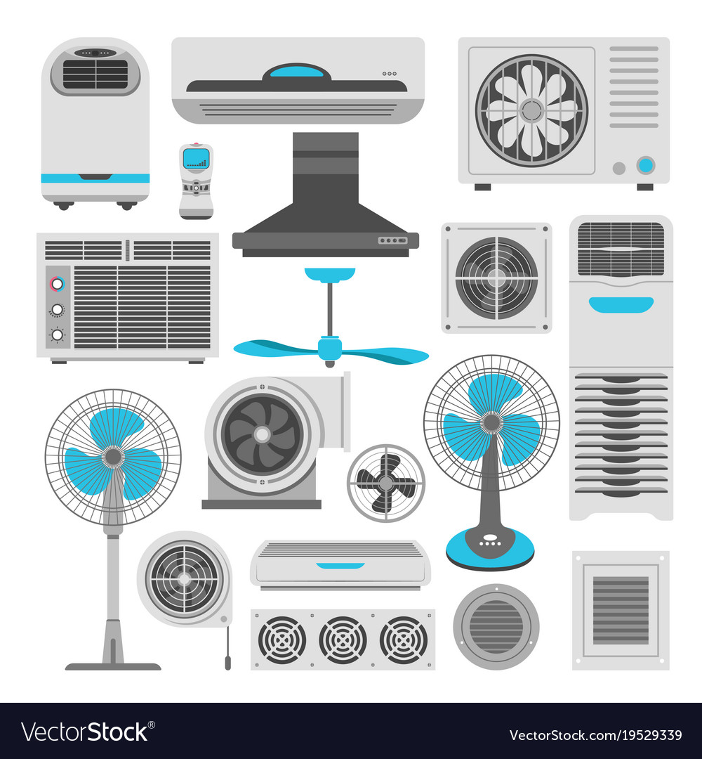 Air conditioners and fans or air purifiers