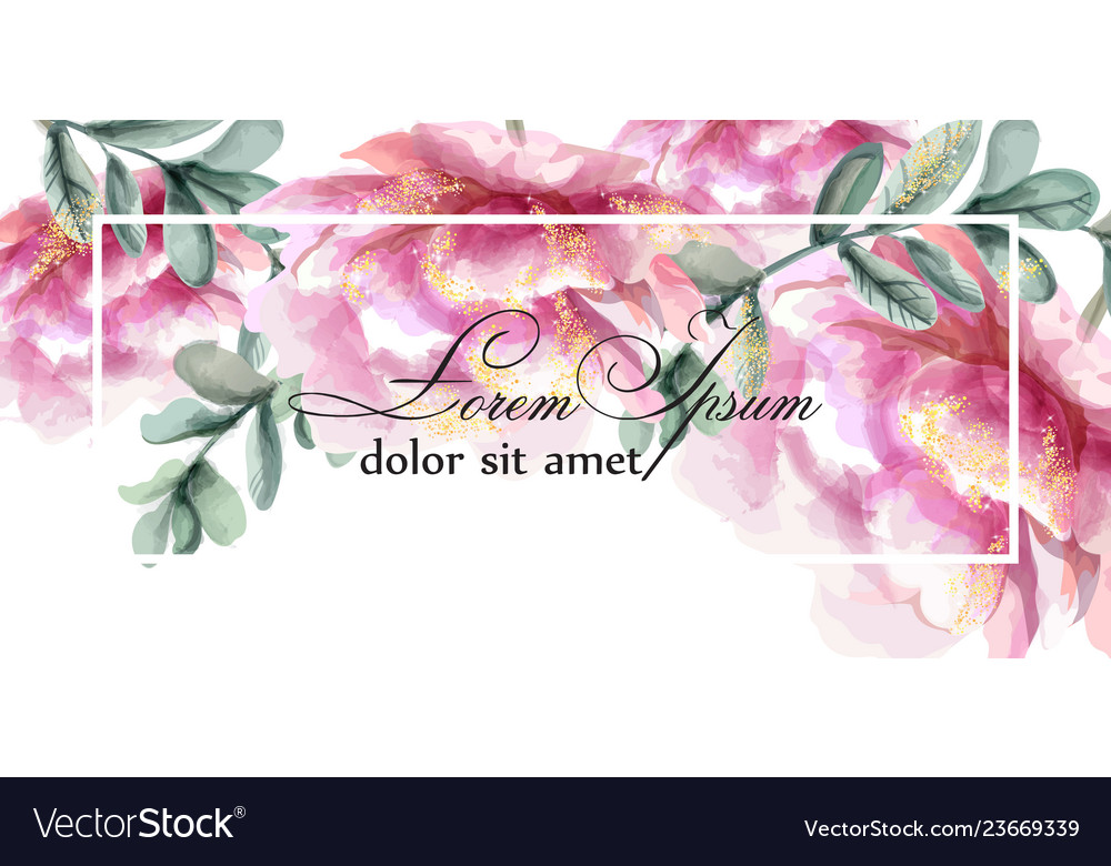 Colorful peony flowers watercolor banner