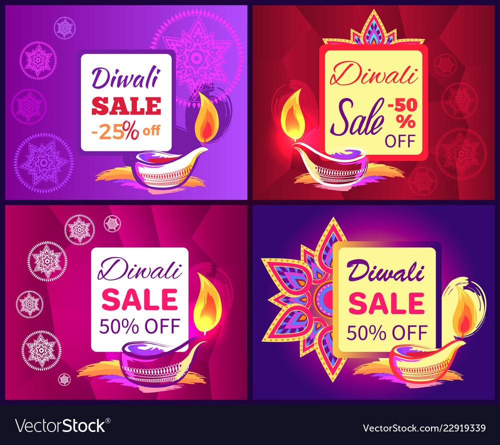 Diwali sale set of posters