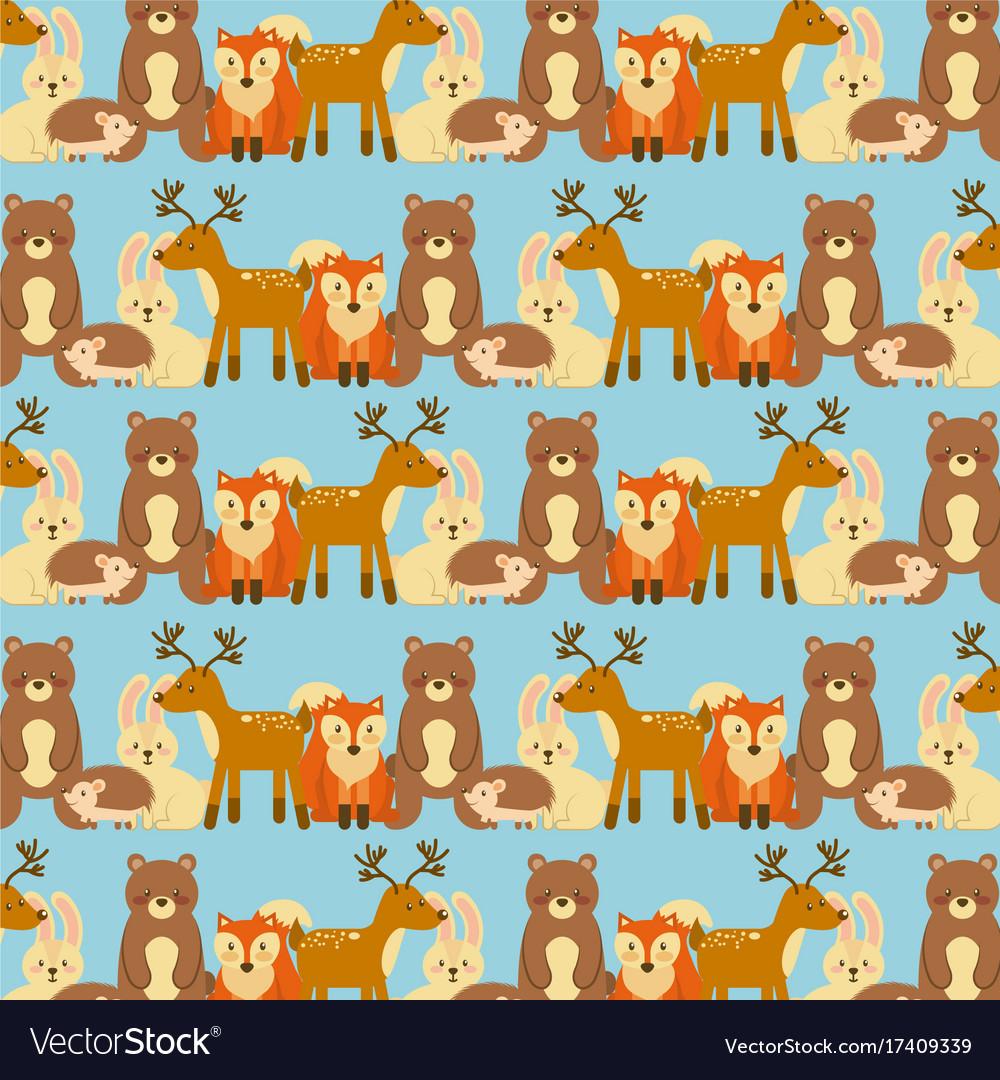 Forest animals wildlife natural seamless pattern