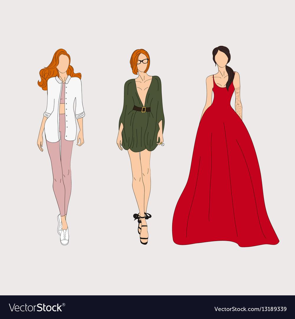 0e9e08c28e5a4 Hand drawn fashion models Sketch Royalty Free Vector Image