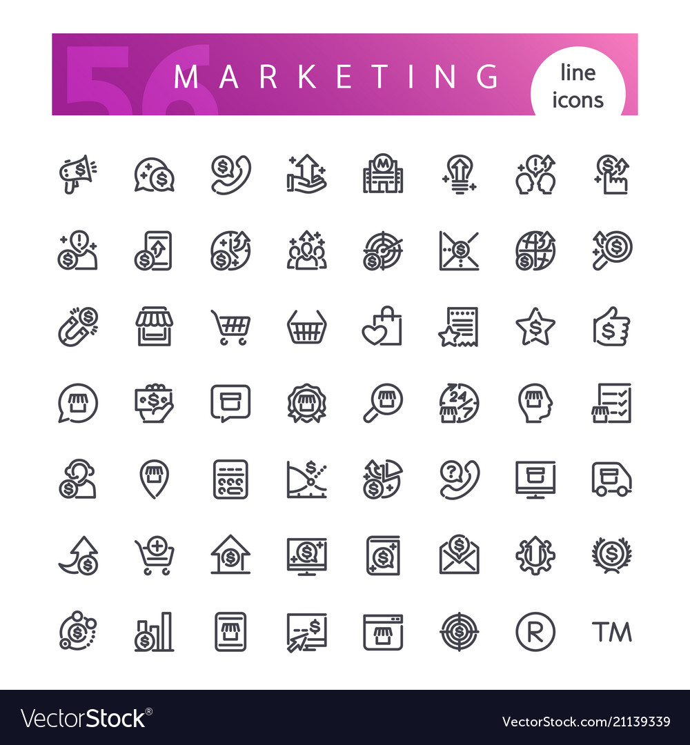 Marketing line icons set