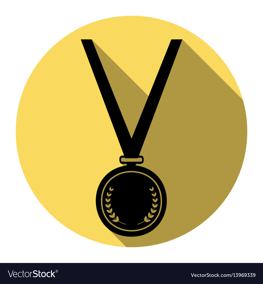 Medal simple sign flat black icon with