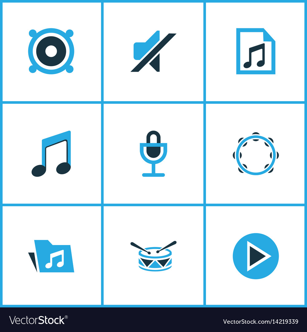 Music colored icons set collection of microphone