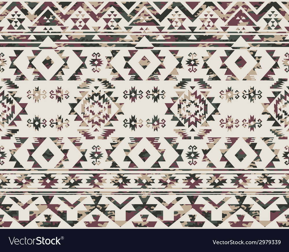Native Americans pattern with camouflage texture vector image