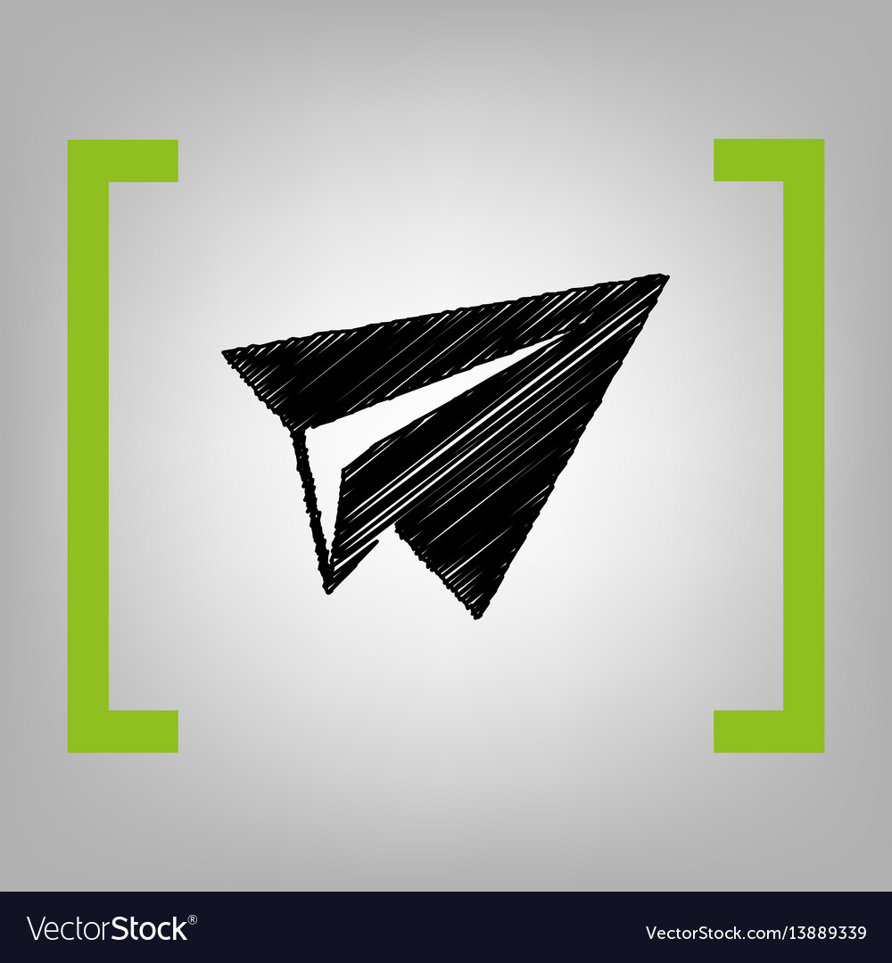 Paper airplane sign black scribble icon vector image