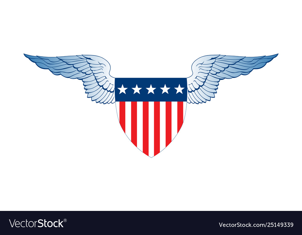 Patriot wings american flag badge shield with
