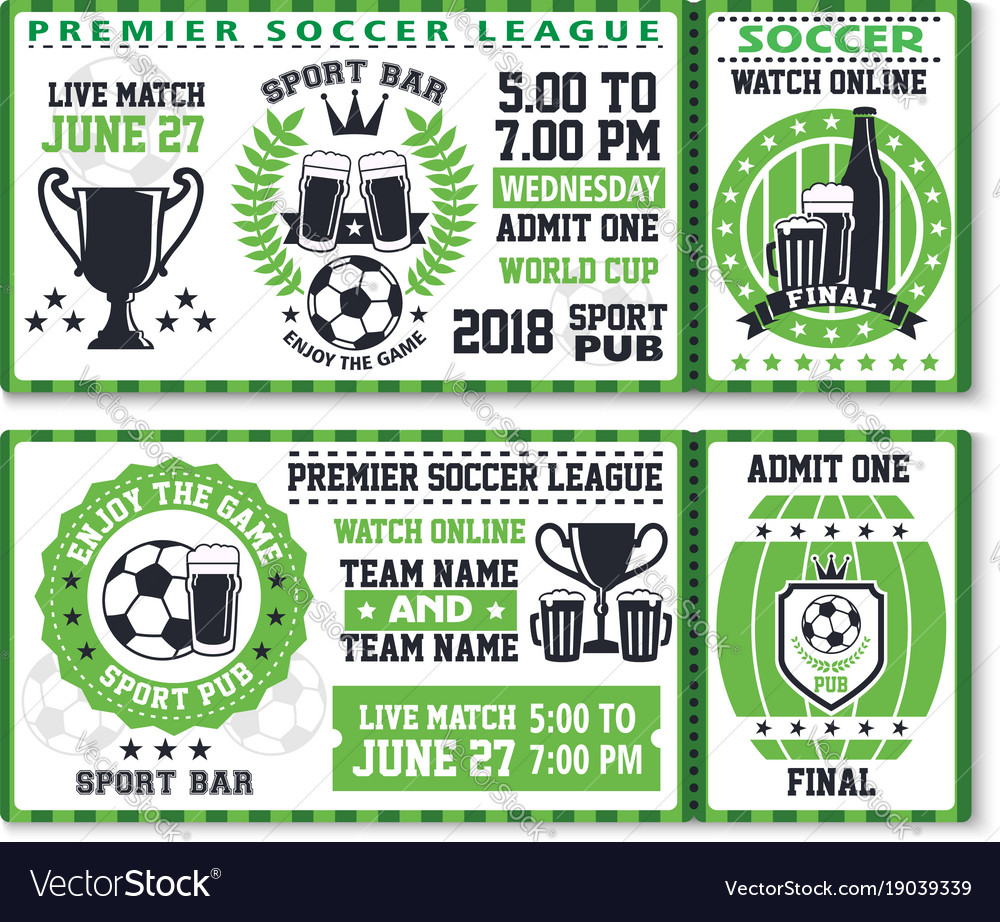 Soccer or football sport game ticket template Vector Image