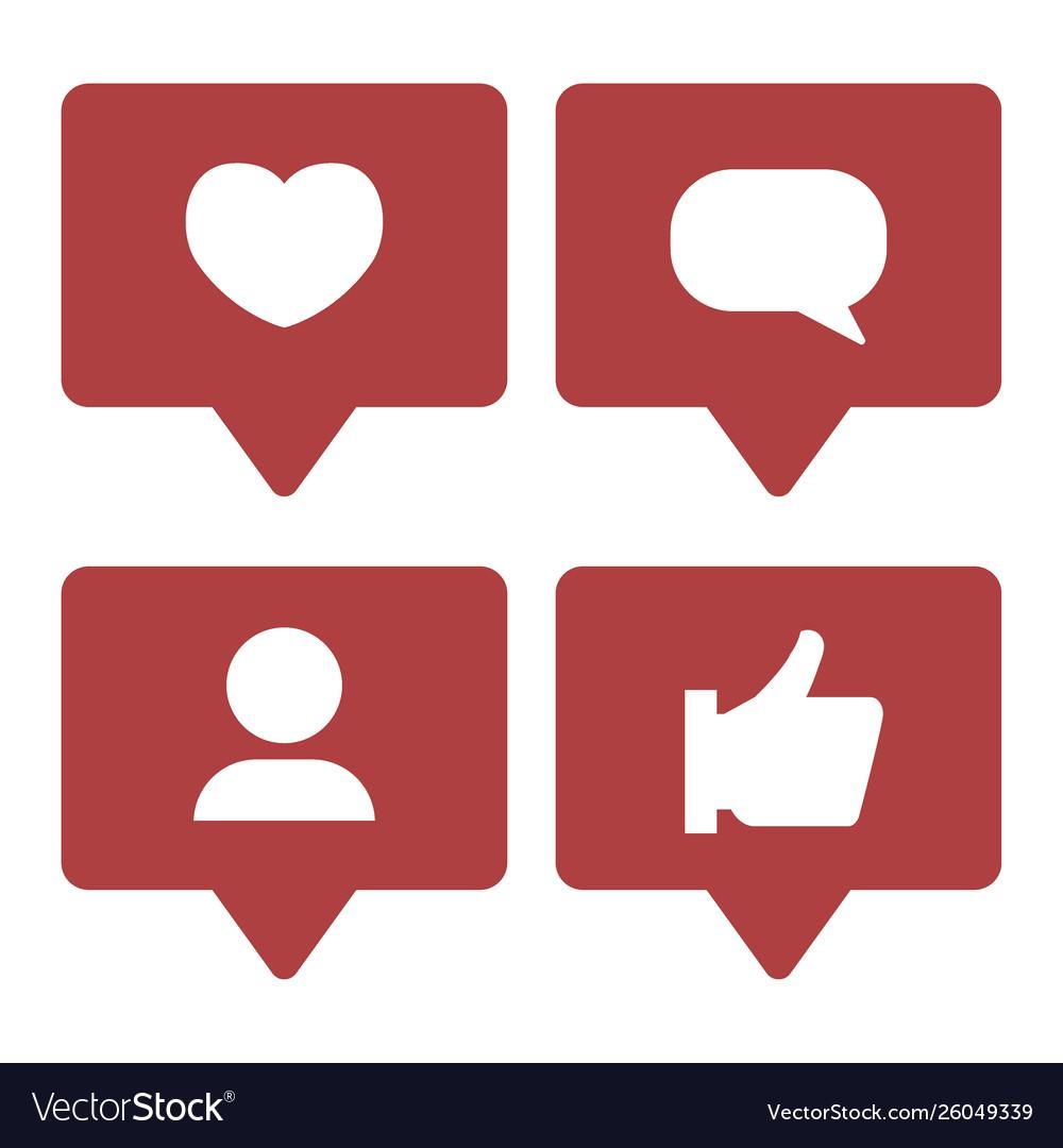 Social media notifications icons set like