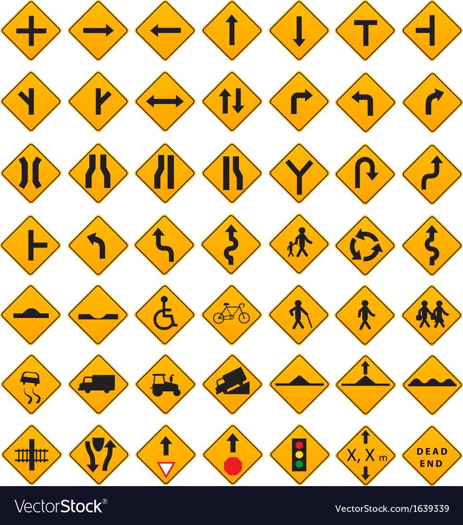 Warning Traffic Signs Set