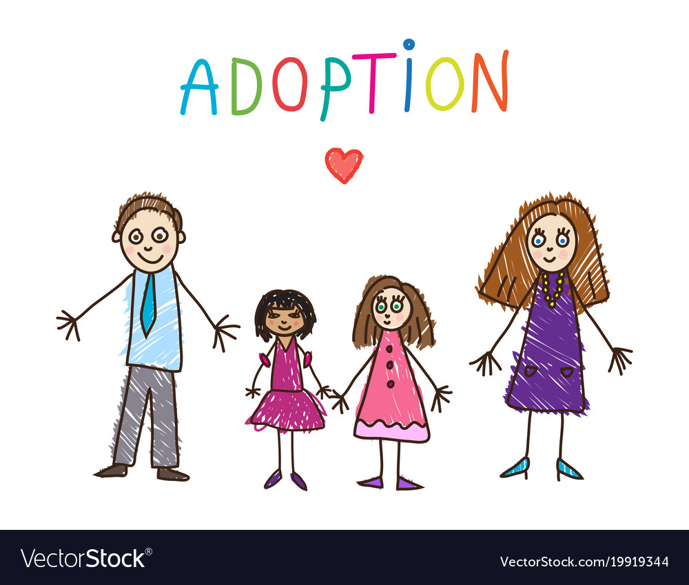 Adoptive family kids drawing
