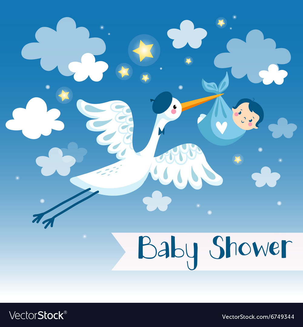 Baboy shower invitation card with stork